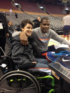 Emmanuel and Kevin Durant, hanging out before the big game.