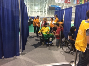 A Brazilian Boccia player is interviewed following his Gold Medal match win.